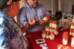 An entrepreneur exhibits his products at the Cuba Emprende Fair